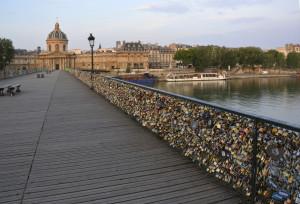 The hundreds of thousands of Locks on the Pont Des Arts Bridge, Paris France.